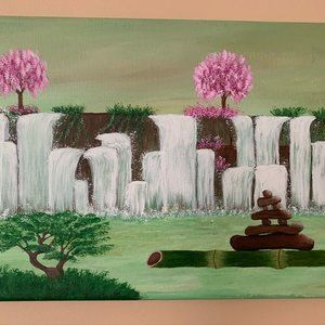 Original Acrylic Painting 9 x 12 Inch - Waterfall